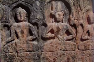 Rock cravd Bhuddha in Padum